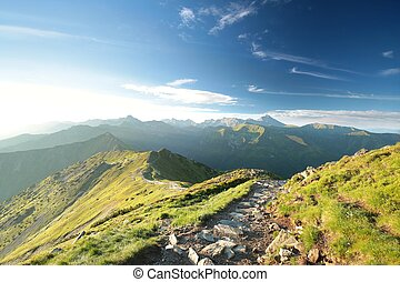 Tatra Mountains during sunrise - Trail among the peaks in...