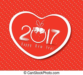 happy new year 2017 with heart greetin