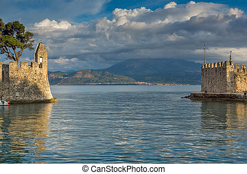 Nafpaktos town, Western Greece - Sunset view of...