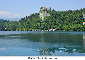 Slovenia, Bled - Slovenia, lake Bled with castle above