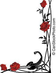 border with roses and scorpion