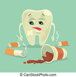 Bad habits Unhealthy tooth character with coffee and...