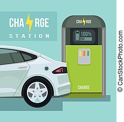 Electric car. Charging station. Vector flat cartoon...