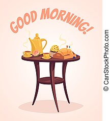 Breakfast. Good morning. Vector flat cartoon illustration