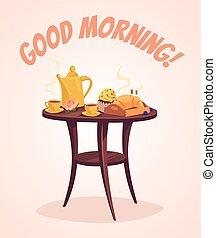 Breakfast. Good morning. Vector flat cartoon illustration