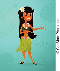 Hawaiian dancer girl character. Vector flat cartoon...