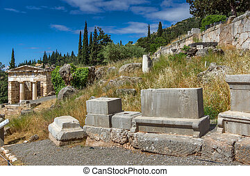 Archaeological site of Delphi - View of the Athenian...