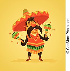 Mexican man character with maracas Vector flat cartoon...