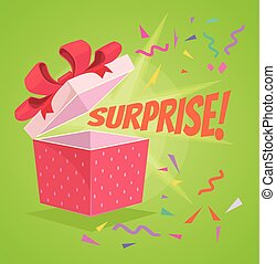 Open surprise text gift box