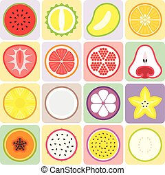 Vector fruits and vegetables icons set 2