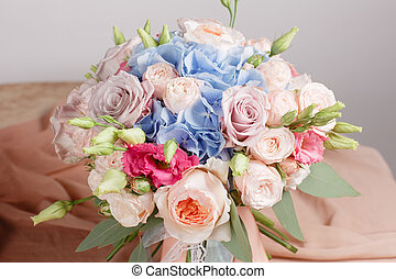 hydrangea rich bouquet. Vintage floristic background,...
