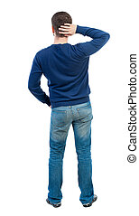 back view of standing business man Young businessman...