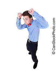 businessman in tie butterfly in a fighting stance -...