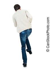 back view of guy funny fights waving his arms and legs...