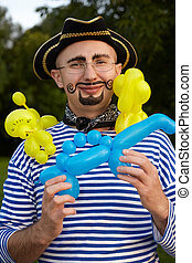 smiling man with drawed beard and whiskers in pirate suit...