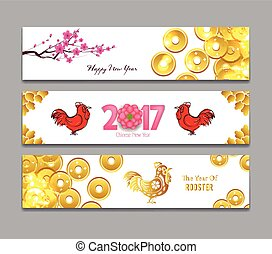 Horizontal Banners Set with Hand Drawn Chinese New Year...