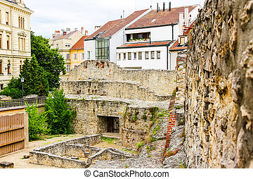 Archeological site in Sopron, Hungary, Europe.