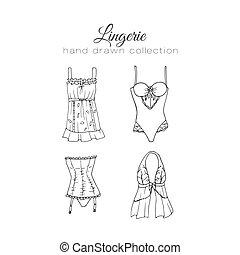 sosténes, ropa interior, garabato, Ilustración, Conjunto,...