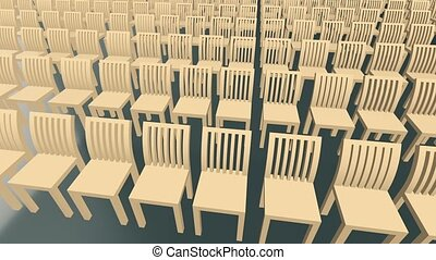 Moving rows of wooden chairs