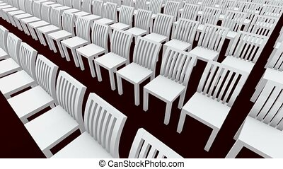 Moving rows of chairs in white color