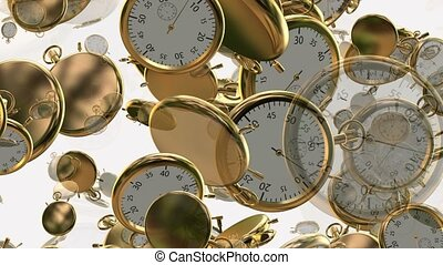 Flying, rotating stopwatches,chronometers in golden color