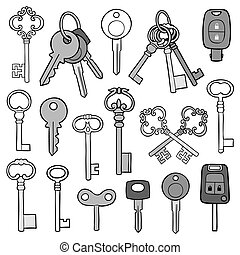Large collection of different keys with vintage, retro and...