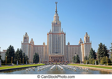 Moscow State Univercity Front facade view Sunny summer clear...
