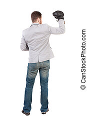 businessman with boxing gloves in fighting stance Isolated...