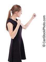 skinny woman funny fights waving his arms and legs Isolated...