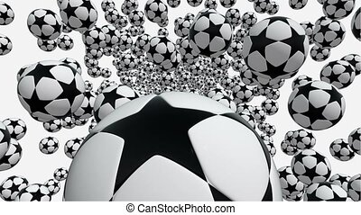 Flying soccer balls in white and black colors