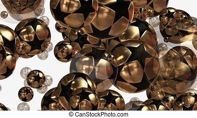 Flying soccer balls in gold