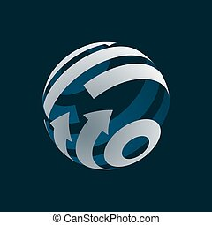 Abstract Globe Logo Element. Rotating Arrows. Vector Symbol of Globalization. 3D Design. Rotating Globe.