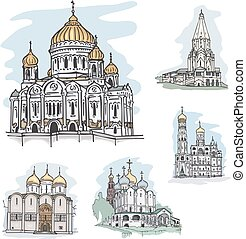 Famous churches and cathedrals in Mosocw, Russia - Set of...