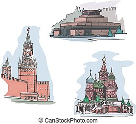 Moscow, Russia, Red Square sights - Set of famous buildings...