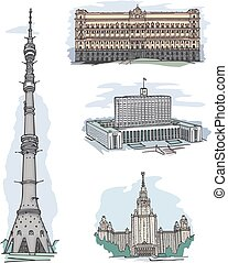 Famous buildings & sights in Moscow - Set of famous...