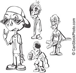 Set of teenage redneck hippy guys Vector illustrations