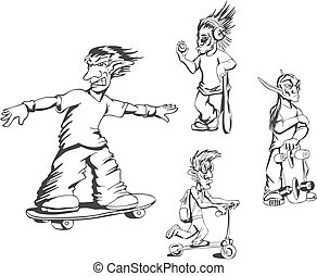 Set of teenage redneck activity guys Vector illustrations