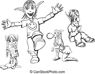 Set of redneck teenage elves. Vector illustrations.