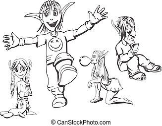Set of redneck teenage elves. Vector illustrations.