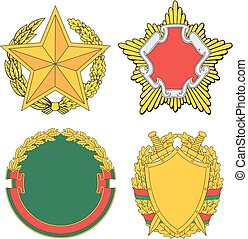 Belarus emblematic and heraldic templates Set of vector...