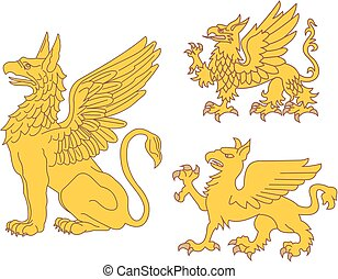 Set of heraldic griffins Vector illustrations