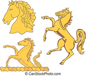 Set of heraldic horses Vector illustrations