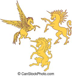 Set of mythic heraldic unicorns and pegasus Vector...