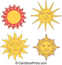 Set of heraldic suns and solar signs. Vector illustrations.