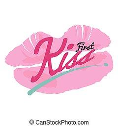 First Kiss Lipstick Kiss Vector