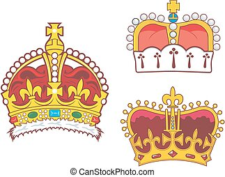 Set of heraldic royal and prince crowns Vector illustrations...