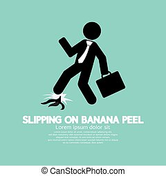 Slipping On Banana Peel Vector Illustration