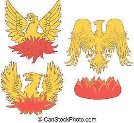 Set of heraldic phoenix birds. Vector illustrations.