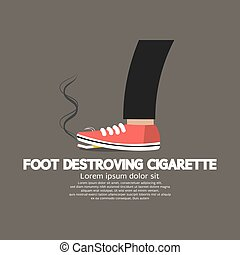 Foot Destroying Cigarette Vector Illustration