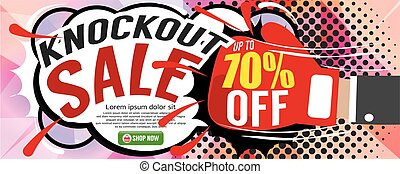 Knockout Sale Banner Vector - Knockout Sale 1500x600 pixel...